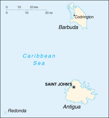 [Country map of Antigua and Barbuda]