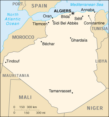[Country map of Algeria]