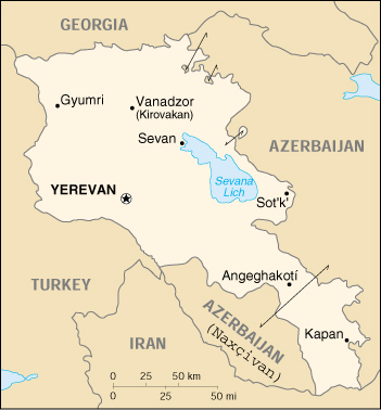 [Country map of Armenia]
