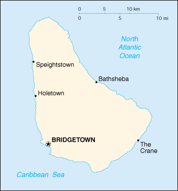 [Country map of Barbados]