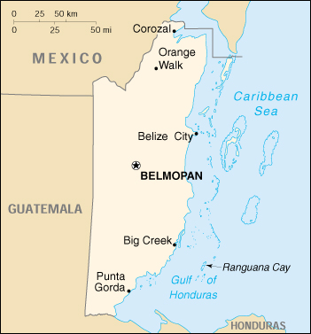 [Country map of Belize]