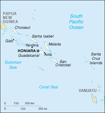 [Country map of Solomon Islands]