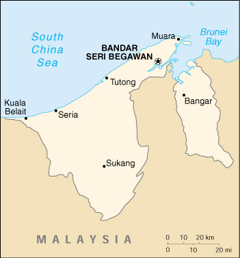 [Country map of Brunei]