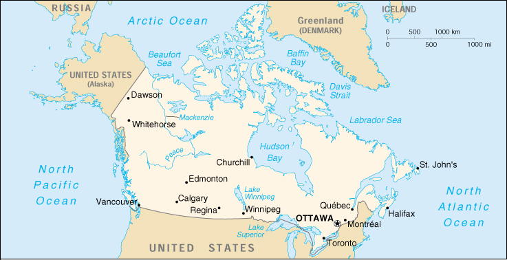 [Country map of Canada]