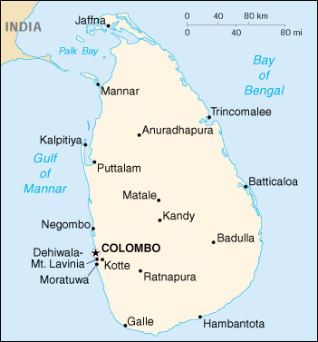 [Country map of Sri Lanka]