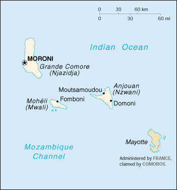 [Country map of Comoros]