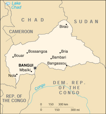 [Country map of Central African Republic]