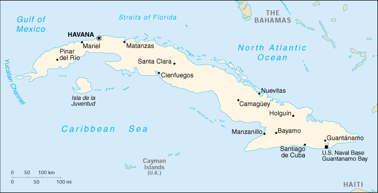 [Country map of Cuba]