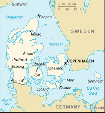 [Country map of Denmark]