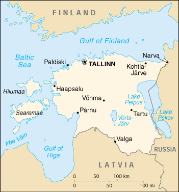 [Country map of Estonia]