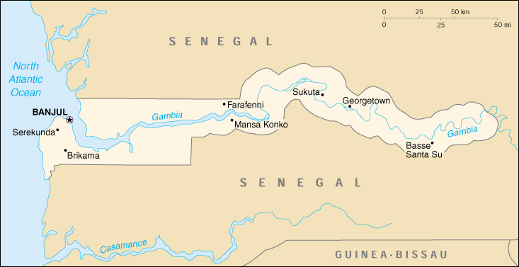 [Country map of Gambia]