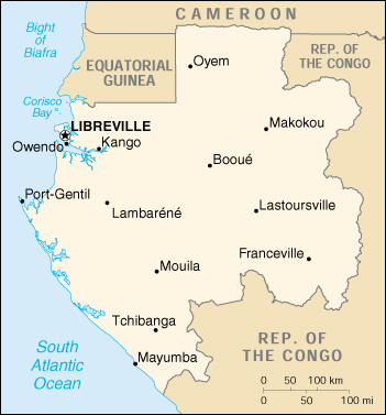 [Country map of Gabon]