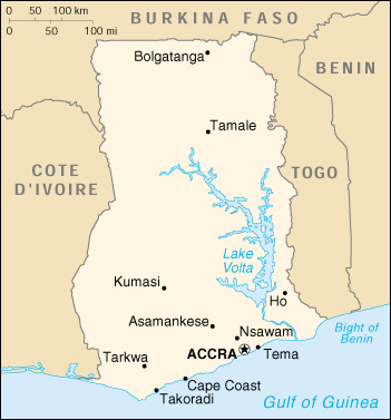 [Country map of Ghana]