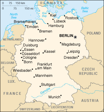 [Country map of Germany]