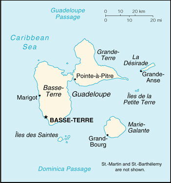 [Country map of Guadeloupe]
