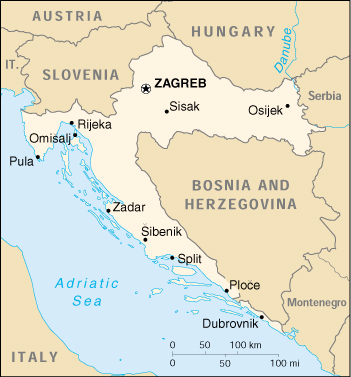 [Country map of Croatia]