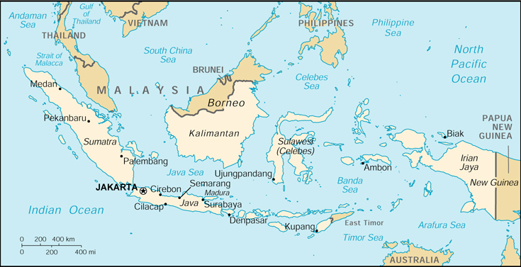 [Country map of Indonesia]