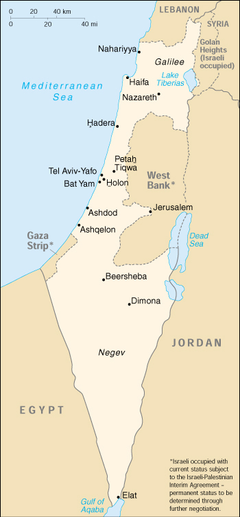 [Country map of Israel]
