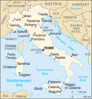 [Country map of Italy]