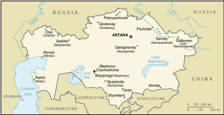 [Country map of Kazakhstan]