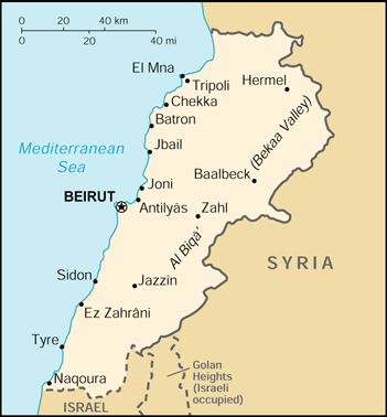 [Country map of Lebanon]