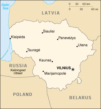 [Country map of Lithuania]