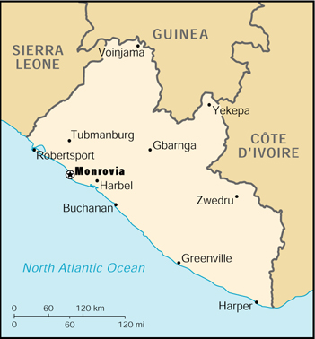 [Country map of Liberia]