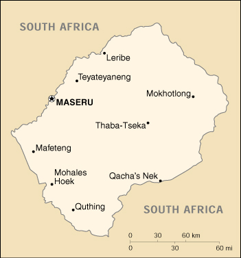 [Country map of Lesotho]