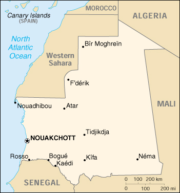 [Country map of Mauritania]