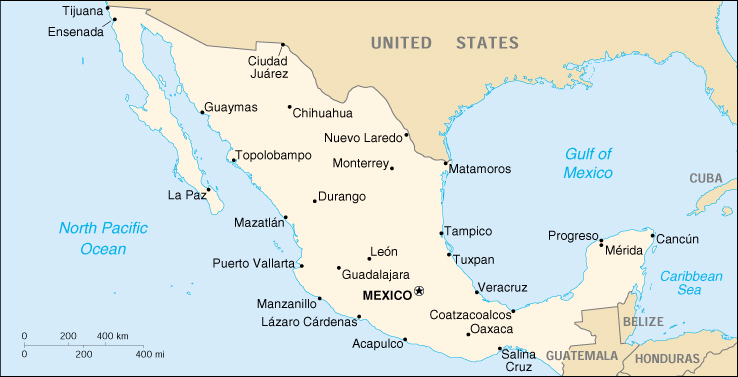 [Country map of Mexico]