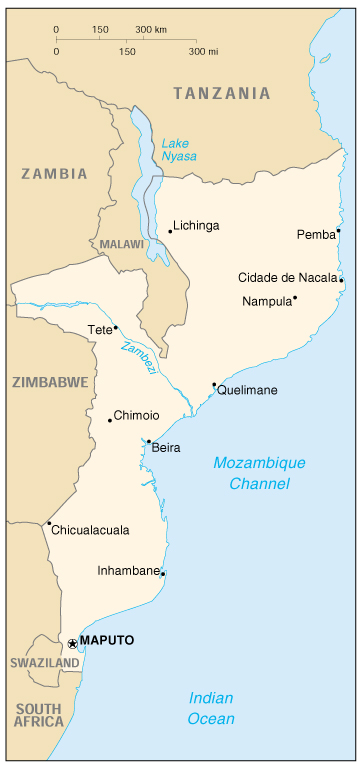 [Country map of Mozambique]