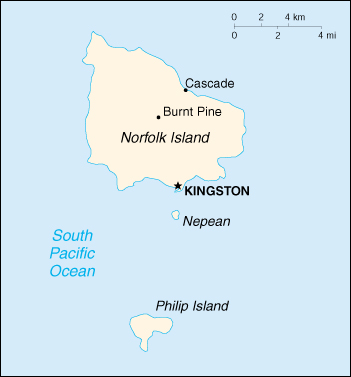 [Country map of Norfolk Island]