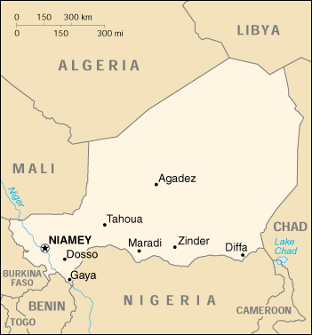 [Country map of Niger]