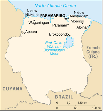 [Country map of Suriname]