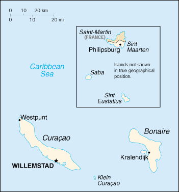 [Country map of Netherlands Antilles]