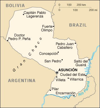 [Country map of Paraguay]