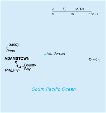 [Country map of Pitcairn islands]