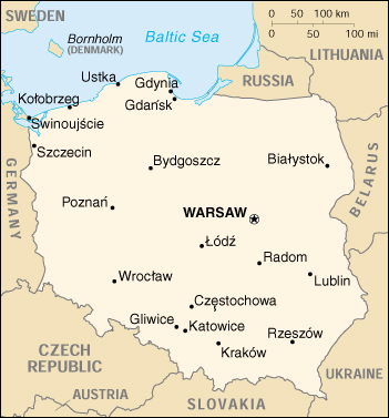 [Country map of Poland]
