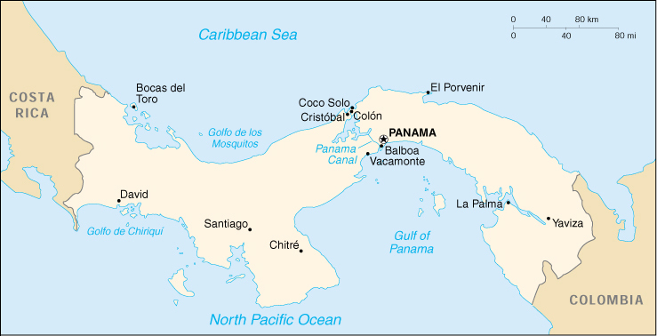[Country map of Panama]