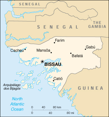 [Country map of Guinea-Bissau]