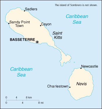 [Country map of Saint Kitts and Nevis]