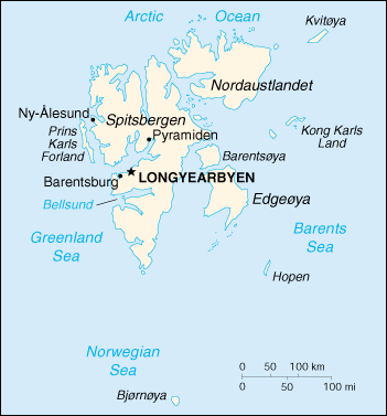 [Country map of Svalbard]