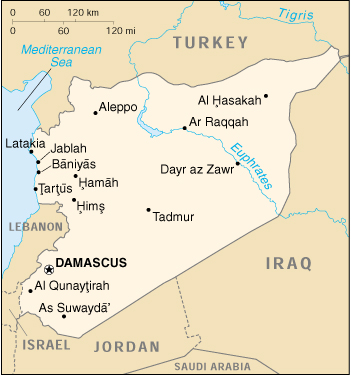 [Country map of Syria]