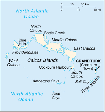 [Country map of Turks and Caicos Islands]