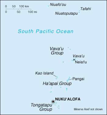 [Country map of Tonga]