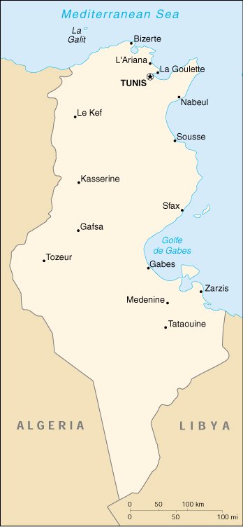 [Country map of Tunisia]