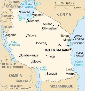 [Country map of Tanzania]