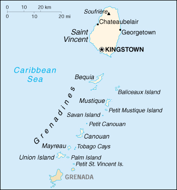 [Country map of Saint Vincent and the Grenadines]