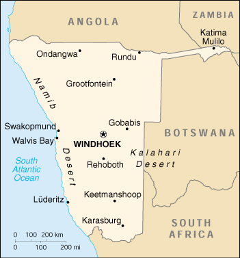 [Country map of Namibia]