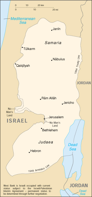 [Country map of West Bank]